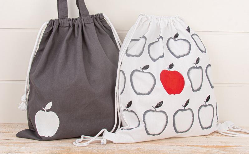 Baumwolltasche mit weißem Apfel