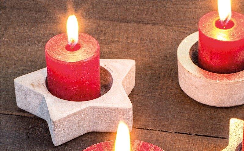 Beton-Kerzenhalter