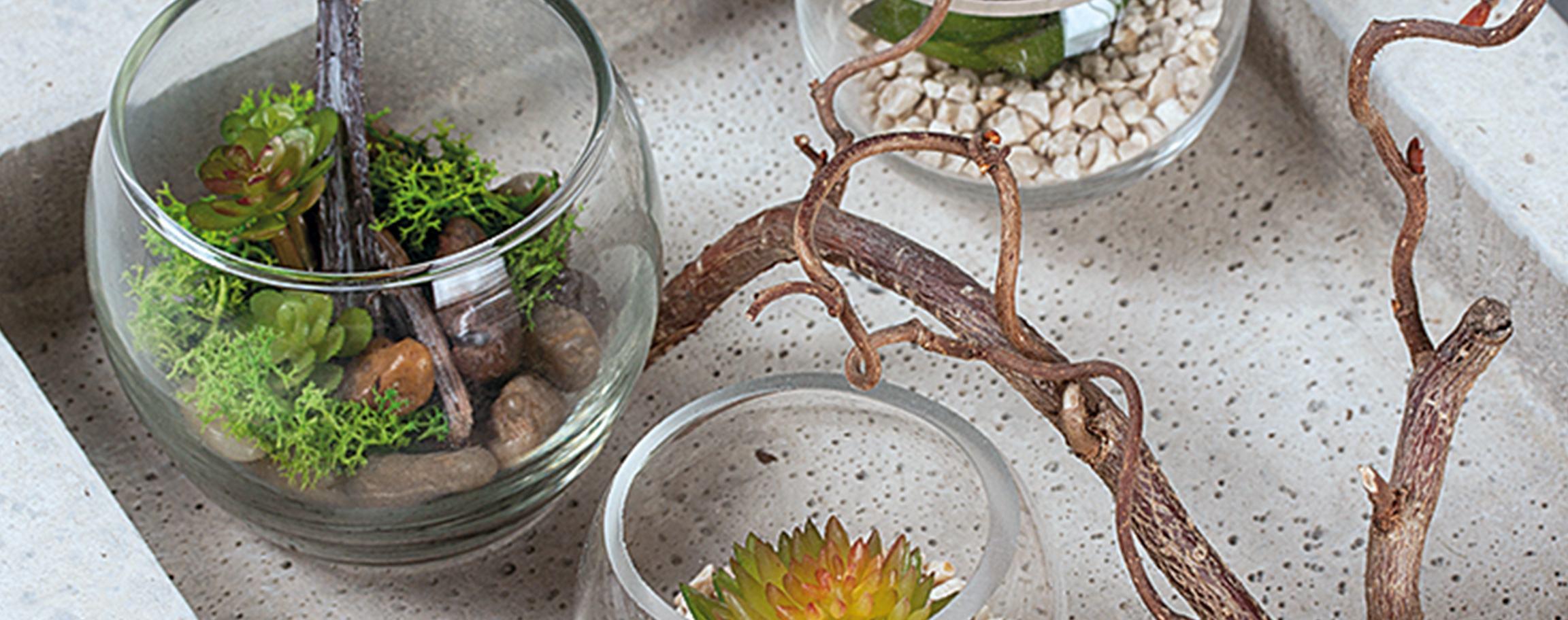 Beton-Schale mit Glasgefäßen