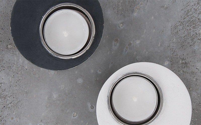 Beton-Teelichthalter rund