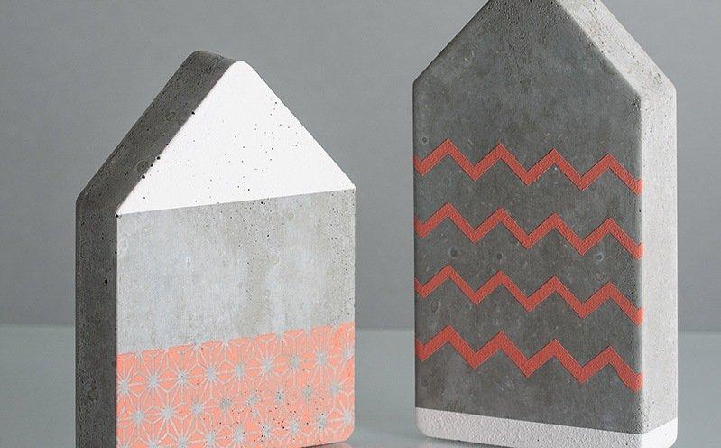 Betonhäuser-Set mit Chalky Finish