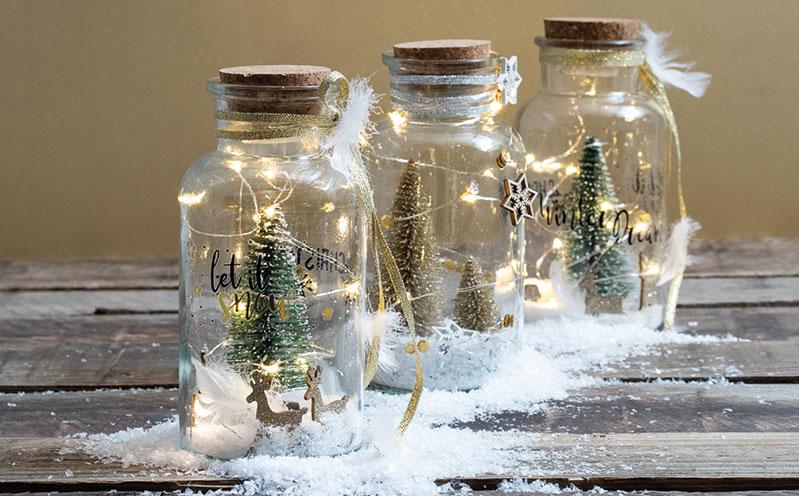 """Deko-Leuchtflasche """"Let it snow"""""""