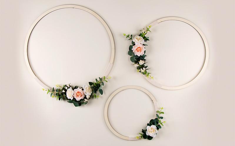 Drei Blumen-Holzringe