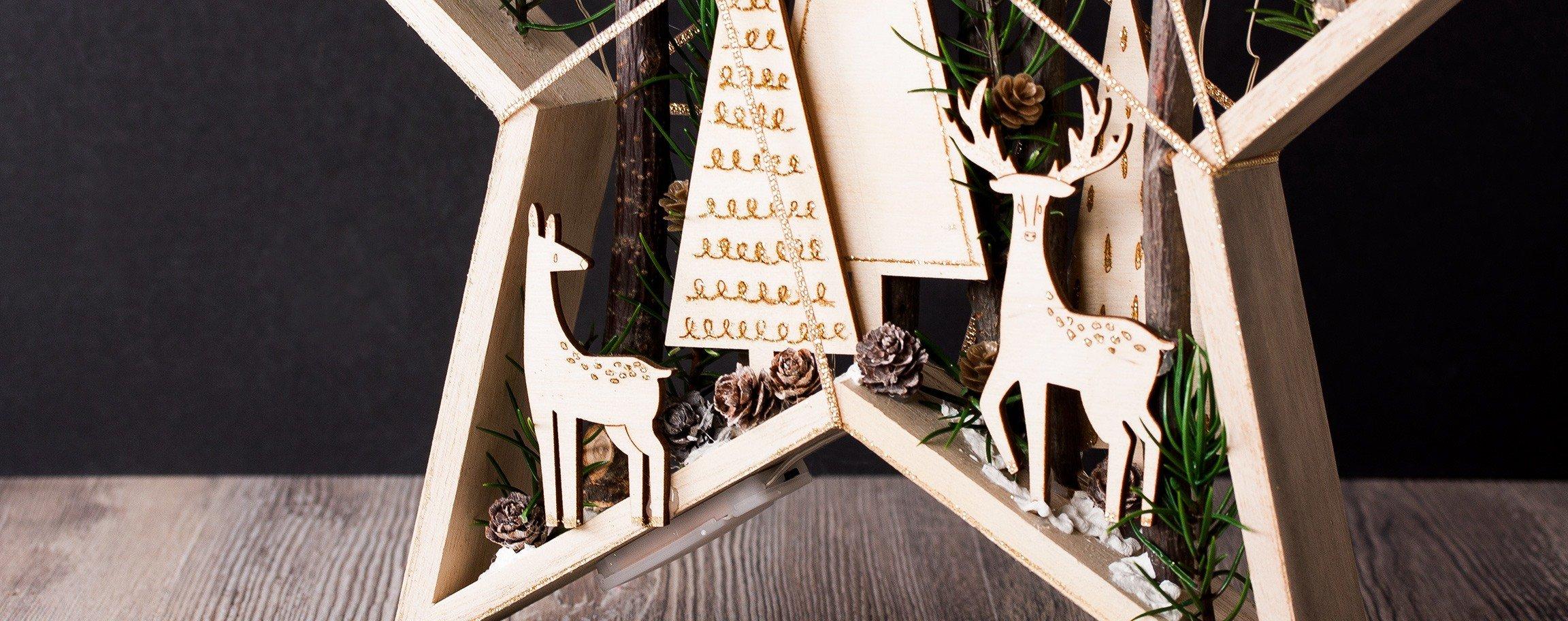Großer Weihnachts-Holz-Stern