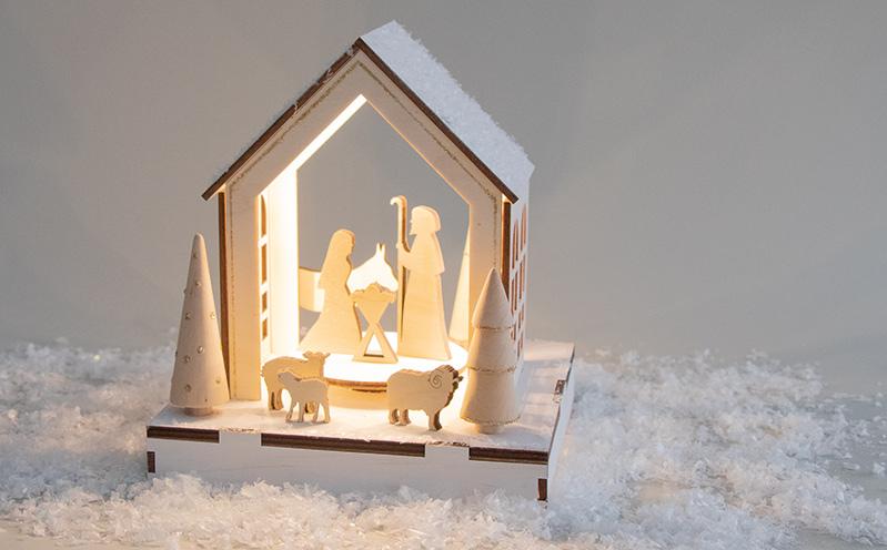 Holzdekoobjekt Haus Krippe