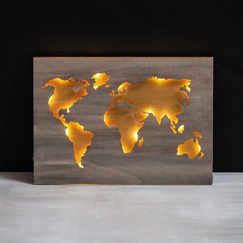 Holz Weltkarte Beleuchtet Bastelidee Rayher