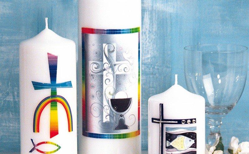 Kerze Regenbogen für Kommunion & Konfirmation