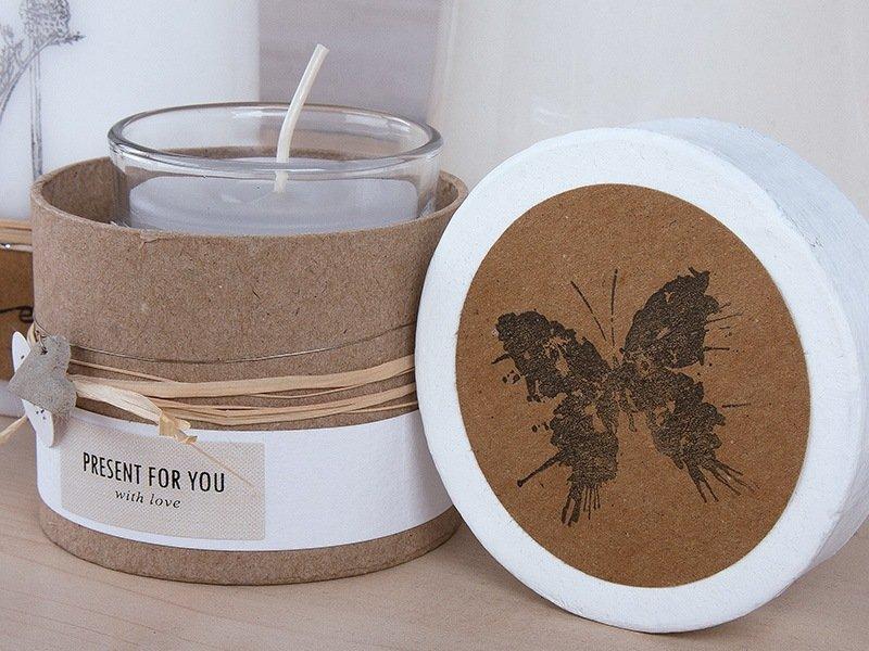 Kerzenglas in Geschenkdose mit Schmetterling
