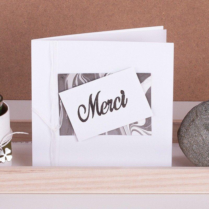 """Marmorierte Karte """" Merci"""" mit Organzaband"""