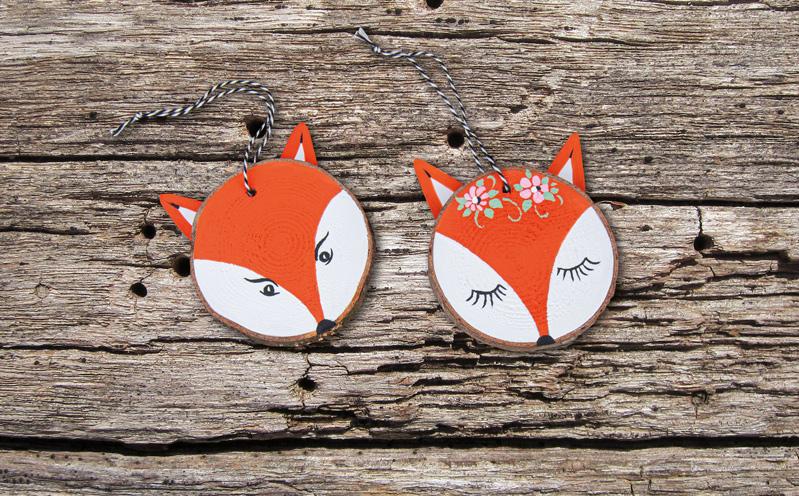 Tiergesichter auf Holzscheiben - Fuchs