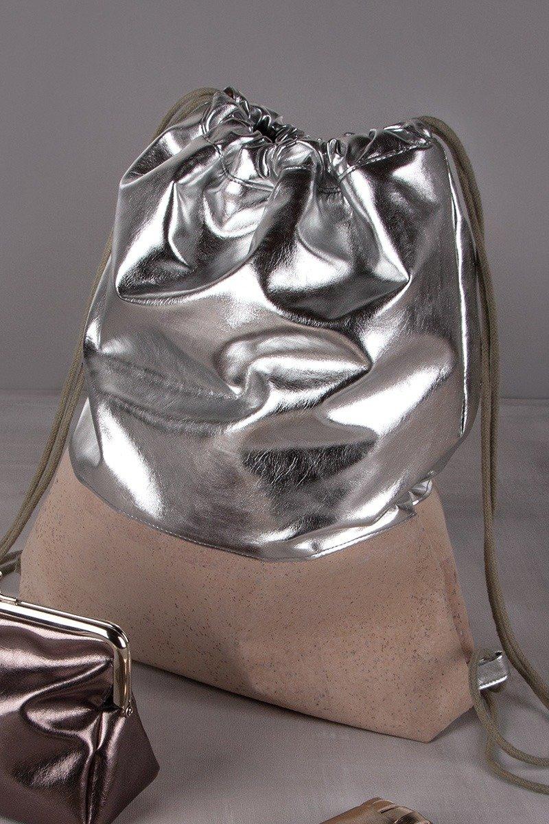 Turnbeutel in silver-shadow mit Kork
