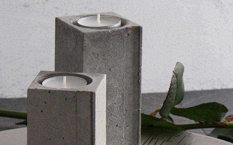 Viereckiger Beton-Teelichthalter