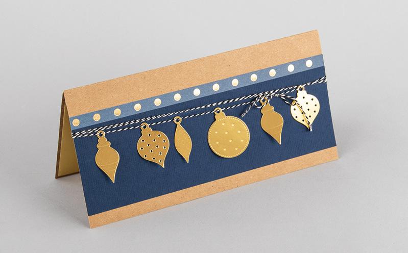 Weihnachtskarte lang, blau