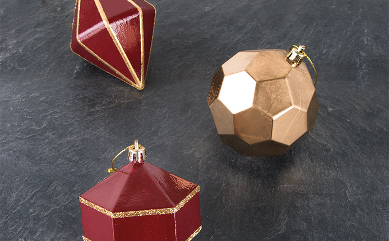 """Weihnachtskugel """"Liv"""" Royalrot Gold-Streifen"""